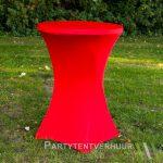 Statafel met rok rood huren - Partytentverhuur Assen